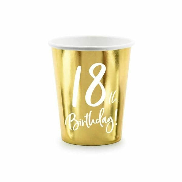 6 Gold 18th Birthday Party Paper Cups, 18th Birthday Cups, 18th Party Decorations, Paper Party Cups, Gold Party Cups, Milestone Birthday